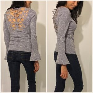 Tops - Gray Detailed Back Top